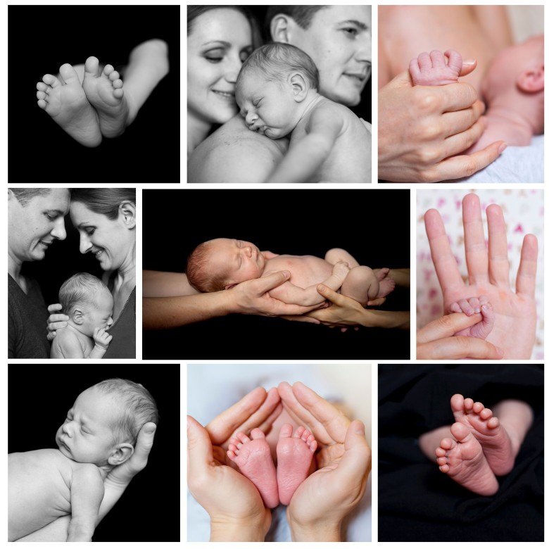Collage of images newborn baby in a parent hands. Black-and-white photo